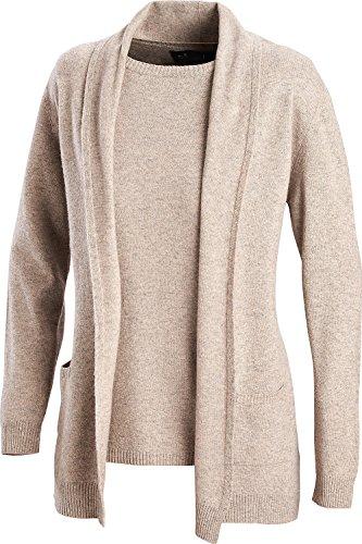 Emilia Parker Kaschmir Twinset, Luxuriöse Kombi aus Kurzarm-Pullover und Cardigan für Damen (Größen: 38-46, Farbe: Beige) (Twin Set Strickjacke Kaschmir-pullover)