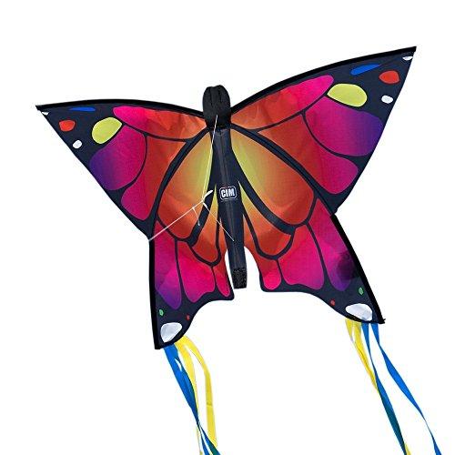 Cometa de Mariposa - Butterfly PINK- Cometa de una sola línea para niños mayores de 3 años - 58 x 40 cm - incl. 20 m hilo de cometa - con tiras de 195 cm en la cola de arco