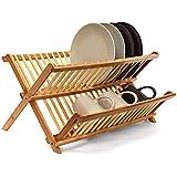 Relaxdays Égouttoir à vaisselle CROSS Accessoire cuisine Ustensile bambou pliant pliable Support assiettes H x l x P: 24,5 x 47 x 33,5 cm, nature