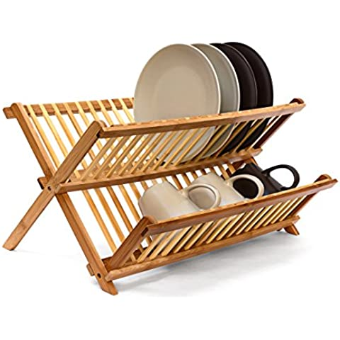 Relaxdays - Escurridor de platos plegable, Bambú y acero inoxidable, 27 x 38 x 29 cm, 0.8 Kg