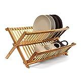 Relaxdays Abtropfgestell CROSS HBT 24,5 x 47 x 33,5 cm Abtropfgitter Bambus klappbar Geschirrabtropfer für Teller und Tassen als Geschirr Abtropfkorb und Holz Geschirrkorb mit Bestecksammler, natur