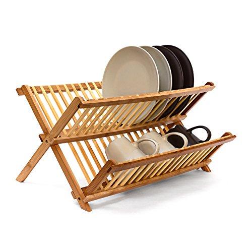 Relaxdays 10019150  Abtropfgestell CROSS HBT 24,5 x 47 x 33,5 cm Abtropfgitter Bambus klappbar Geschirrabtropfer für Teller und Tassen als Geschirr Abtropfkorb und Holz Geschirrkorb mit Bestecksammler, natur