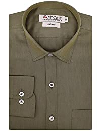Arihant Men's Plain Full Sleeves Reguler Fit Cotton Linen Club Wear Formal Shirts