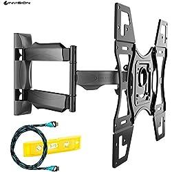 Invision Support Mural TV Ultra Slim Inclinable Pivotant pour LED LCD PLASMA TV 3D - 26-55 Pouce des écrans, Max VESA 400x400mm (Veuillez Vérifier la Taille des Trous de Montage VESA avant l'achat)