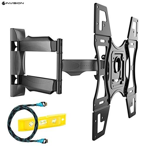 Invision® Ultra Schlank TV Wandhalterung mit 20 Zoll Freitragender Arm/ 1,8-Zoll-Wand Profil Neig- und Schwenkbar für die Meisten 26 bis 60 Zoll LED LCD Plasma 3D & 4K-Bildschirme, Inklusive HDMI-Kabel, Max VESA 400x400mm (HDTV-L)