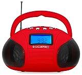 McGrey MC-50BT-RD Bluetooth Lautsprecher Akku Boombox mit Radio rot
