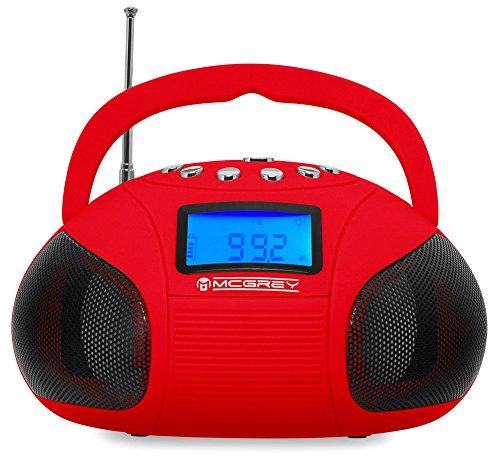 McGrey MC-50BT-RD Bluetooth Lautsprecher Akku Boombox mit Radio (USB-SD-Slot, UKW-Radio, Radiowecker, AUX-in, LCD-Display, Handy Akku, Netzteil) rot (Boombox Mit Akku)