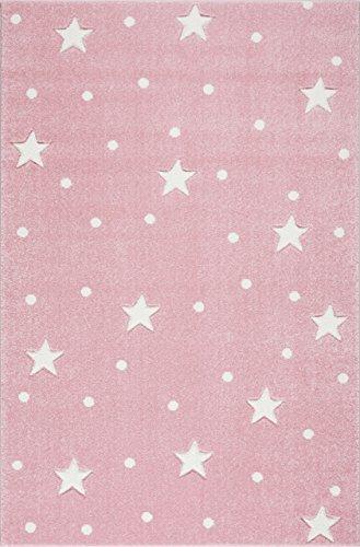 Livone Pflegeleichter Kinderteppich Baby Teppich Kinderzimmer Sterne Punkte in rosa Weiss Größe 160 x 220 cm