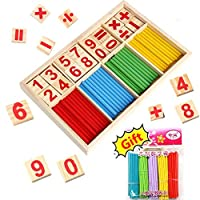 BETOY Wooden Number Sticks, wooden counting toy Montessori Educational Toys Number Cards and Counting 102 Rods with Box Baby Kids Preschool Educational Toys