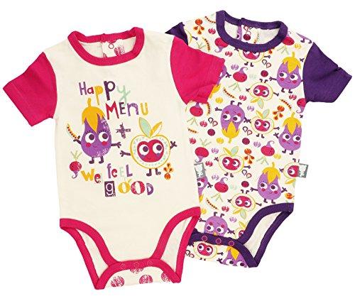 Petit Béguin - 2er-Pack Baby Mädchen Bodys Kurzarm Happy Menu Gr. 92 (24M)