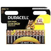 Duracell Lr03/Mn2400 Basic İnce Kalem Pil, 12'li, Bakır/Siyah