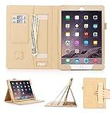 FYY Coque iPad Air 2, Étui en Cuir PU avec Support Pied Card Slots, Portefeuille, Sangle Élastique Support de Stylet pour iPad Air 2 Or (avec Fonction Veille/Réveil Automatique)