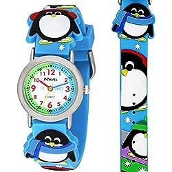 Ravel Boys-Kids 3D Penguin Time Teacher White Dial Blue Strap Watch R1513.72