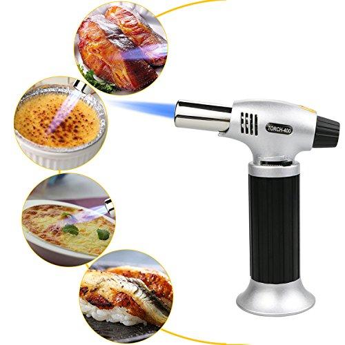 Philonext Torcia Cucina Accenditore a Torcia per Cucinare Fiamma Ossidrica Torcia a Gas per Cottura Alimenti Torcia Cucina per il Barbecue (Silver) - 8