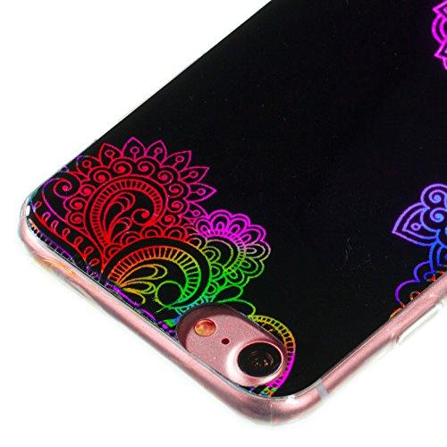 Custodia iphone 7 Silicone, Cover iphone 8 Nero, Ekakashop Glitter Moda Colori 3D Mandala Fiore Pattern Modello Ultra Slim Nero Trasparente Cover in TPU del Gel Silicone Gomma Morbido Antiurto Protett Mandala#5
