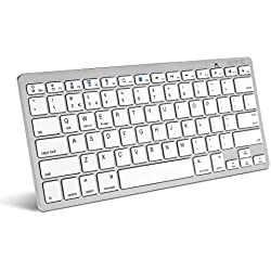 Caseflex Ultra Slim Wireless Bluetooth Keyboard For All iOS, iPad, Android, Mac, Windows Devices - Silver & White