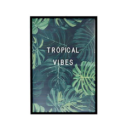 Dresz Letter-Board mit 3 Tropical Postern und Montagewinkeln, 267 Weiße Buchstaben, Nummern & Symbole, Retro Design, Plastik, 30 x 45 cm