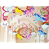 Party Propz Unicorn Theme Birthday Decorations Swirls Hanging Decorations 12Pcs For Girls Party Decoration,Ceiling Decor…
