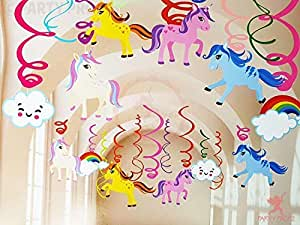 Party Propz Unicorn Theme Birthday Decorations Swirls Hanging Decorations 12Pcs for Girls Party Decoration,Ceiling Decor Supplies, Swirl Backdrops,Magical Decorations