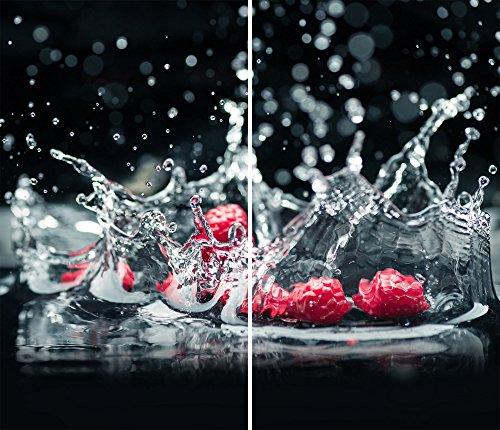 DAMU |Ceranfeldabdeckung 2 Teilig 2x30x52 cm Herdabdeckplatten Küche Elektroherd Induktion Herdschutz Spritzschutz Glasplatte Schneidebrett Schwarz Rot Obst