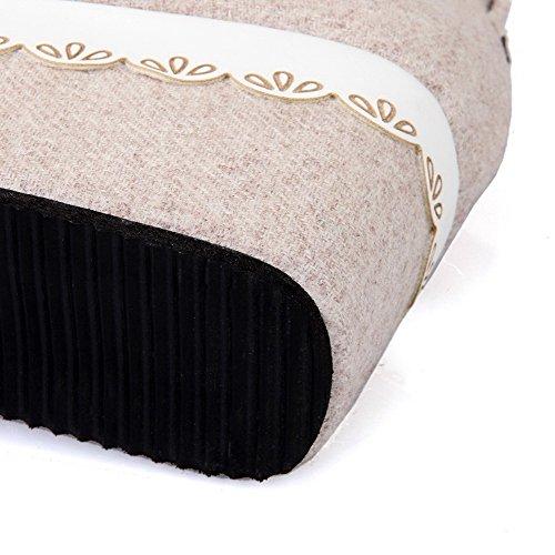 Pumps Schuhe Schnalle Rund materialien Damen Farbe Zehe Blend Mittler Voguezone009 Absatz Aprikosen FqzCw877