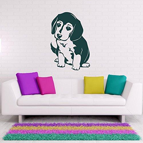 - Beagle Welpe Wand Tattoo Wandaufkleber Aufkleber Hund Tier Dekoration ca. 27 x 40 cm violett ()