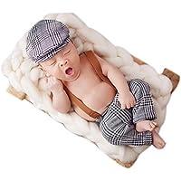 Bebé recién nacido fotografía apoyos niño Niña Crochet disfraz trajes gris  ... fc923e04298