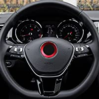 TOPDECO Aluminium Trim Car Steering Wheel Logo Sticker-fit VW Volkswagen Golf 6 Golf 7 Polo Tiguan Passat B7 Touran Scirocco Beetle(Red)