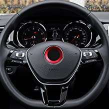 Aluminium Trim Car Steering Wheel Logo Sticker-fit VW Volkswagen Golf 6 Golf 7 Polo Tiguan Passat B7 Touran Scirocco Beetle(Red)