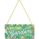 Nostalgic-Art 28008 Home & Country - Garden | Blechschild | Hängeschild | Türschild | inkl. Kordel, 10x20 cm