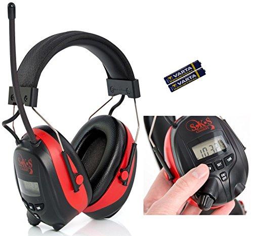 SKS 1180 Digital mit Radio FM/AM Kapselgehörschutz, Kopfhörer + MP3 Anschluss, rot / schwarz, + Batterien und Audiokabel für MP3