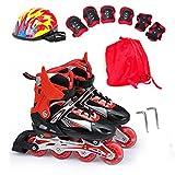 Kinderinliner Inline Skates mit Leuchtende Rollen Inlineskates Set Größenverstellbar, 4 Farben vorhanden, SWAMPLAND