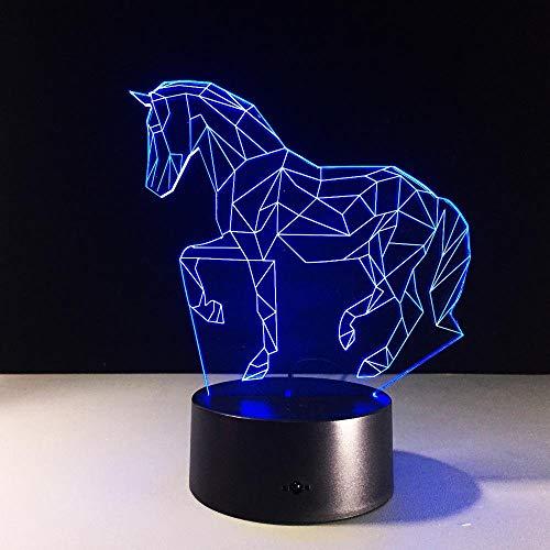 ZNDDB 3D Illusion Lampe LED Nachtlicht, USB-Stromversorgung 7 Farben Blinken Berührungsschalter Schlafzimmer Schreibtischlampe für Kinder Weihnachts Geschenk