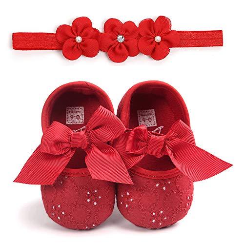 Unisex Neugeborenen Baby Schuhe, Sunday Säugling Mädchen Jungen Krabbelschuhe Herbst Krippeschuhe Turnschuhe rutschfest Ballerinas Taufschuhe Baby Geschenk 0-18 Monate (Baby-kleidung Rot Neugeborenen)