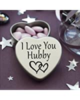 Perfect Way To Say I Love You. Beautiful Mini Silver Heart Tin With Sweets, Special Gift Present to say I Love You. Tin size 45mm x 45mm x20mm. (I Love You Hubby)