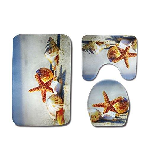 OUNONA Badematten 3tlg Sockel Mat Set WC Deckel Toilettenmatte Set Gedruckt Rutschfeste Bad Teppich 3 Stück (Strand Stern Shell)