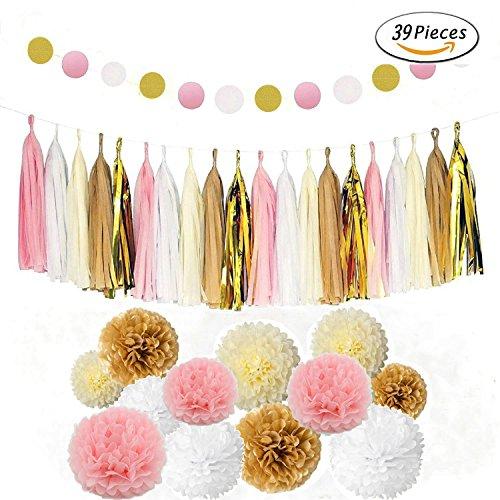 sopeace 39PCS Seidenpapier Pom Poms Blumen Tissue Quaste Girlande Polka Dot Papier Girlande Kit für Hochzeit Party Dekorationen (Polka Dot Tissue-papier)