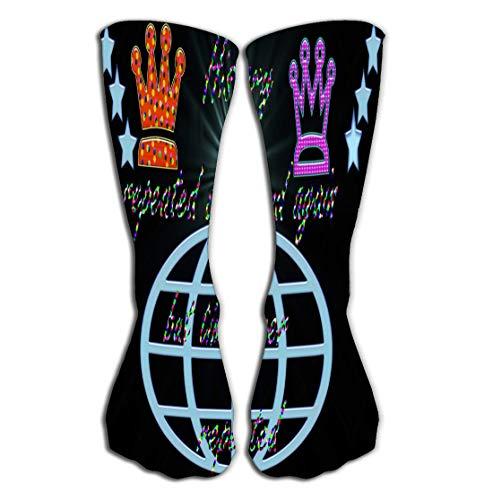 Xunulyn Hohe Socken Outdoor Sports Men Women High Socks Stocking Repeated History Design time not Black Background Globe Sun Light ray Star Kings hat who Believe Tile Length 19.7