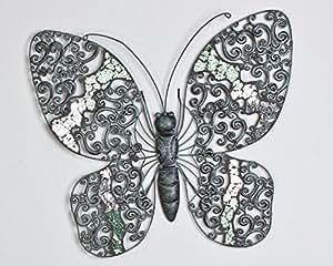 Décoration murale papillon 50 cm terre cuite aspect ancien en métal vert