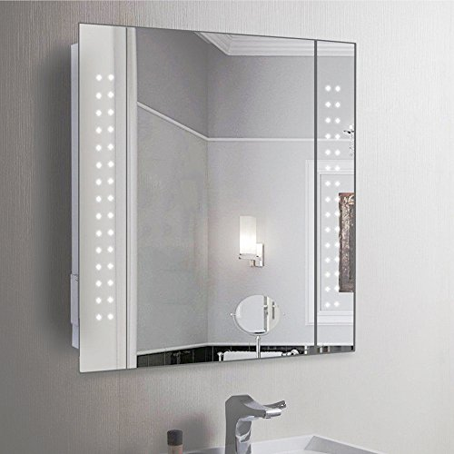 Anaelle Pandamoto Armoire de Toilette Avec 1 MiroirPorte et Lumineux LED sur Salle de Bain, Taille: 600*110*600mm, Poids: 15kg, Blanche