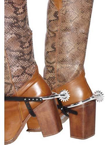Confettery - Kostüm Accessoires Zubehör Western Cowboy Style Sporen mit schwarzen Riemen, perfekt für Karneval, Fasching und Fastnacht, Silber