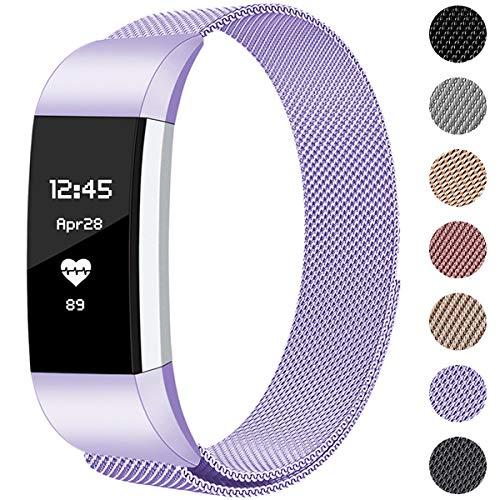 Hamile Kompatibel für Fitbit Charge 2 Armband, Metall Armband, Edelstahl Sport Ersatzarmband für Fitbit Charge 2 Fitness Tracker, Klein Lavendel (Metall-armband)