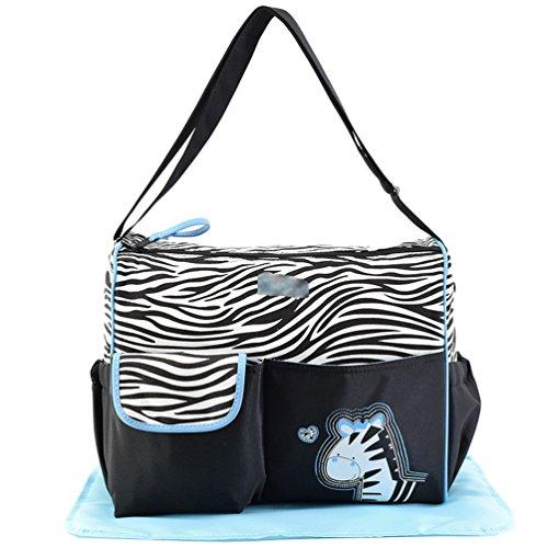 Jitong Schick Mutter Umhängetasche Reisetasche für Baby Cartoon-Muster Lässige Windeltasche Pflegetaschen (Blau #2, 39 * 16 * 30cm)
