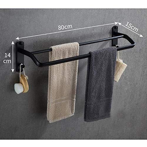 YQQ-Regal Doppel-Handtuchhalter Handtuchhalter An Der Wand Montiert Weltraum-Aluminium Toilette Aufbewahrungswandhalterung Vier Längen Sind Optional Schwarz (Size : 80cm) (Doppel-wand-regale)