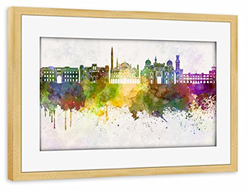 artboxONE Poster mit Rahmen Kiefer 45x30 cm Alexandria Skyline in Watercolor von Paul Rommer - gerahmtes Poster