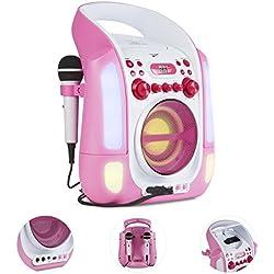 AUNA Kara Illumina - chaîne karaoké, Lecteur CD+G, Paire de Micro dynamiques, Port USB, Compatible MP3, Sortie Audio et vidéo, Effets Lumineux, Rose