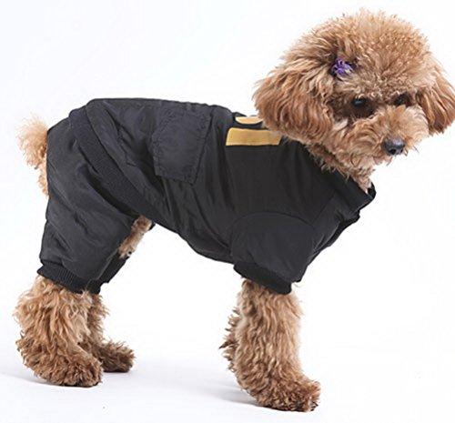 ZUNEA Kleine Hund Overall Gepolsterte Weiche Warme Gedruckt Pet Puppy Winter Schneeanzug Daunenmantel Jacke Yorkie Chihuahua Kleidung Outfits Schwarz (Rock Kostüme Pudel Schwarz)