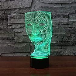 Maschera Facciale Lampada 3D Lampada Da Notte A Led A 7 Colori, Per Bambini Lampada Da Tavolo A Led Usb A Led Lampada Da Comodino Per Dormire Per Bambini Power Bank Migliori Regali Giocattoli