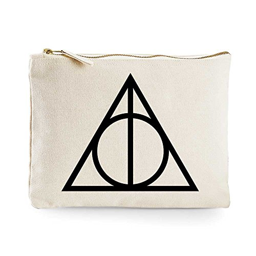 Image of Harry Potter Triangle Make-Up Bag / Accessories Case (Large 20cm x 28cm, Cream/Natural)