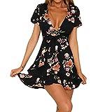 VENMO Sommerkleider Damen Frauen Aus Schulter Blumen Strandabend Party Kurzes Minikleid festlich sweatkleid abendkleider ballkleider kleider satinkleid abendmode elegante blusen Dress (S, Black)